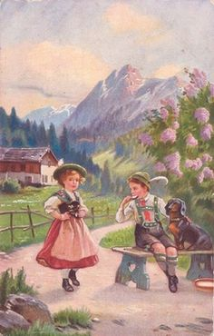 You can't mention Germany and not Dachunds!  |  Vintage Dachshund postcard..  via pinterest..