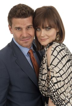 David Boreanaz and Emily Deschanel in the FOX Upfront Portrait Studio on May 17, 2010