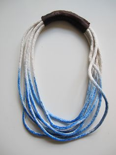 hand dyed rope + leather necklace