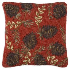 Ruby Pinecones Hooked Pillow