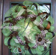 Spring Green Giraffe Print Deco Mesh Wreath