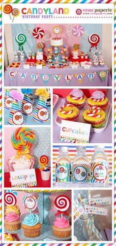 candy land lollipop party , DIY printable decoration (www.venspaperie.com)