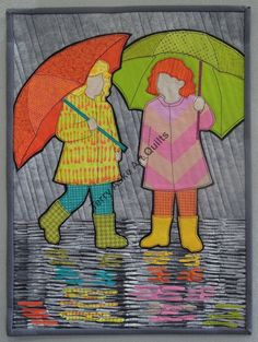 "Rainy Day Girls by Terry Aske.  ""Here's my finished entry for the Canadian Quilters' Association invitational traveling quilt show 'It's Time for Colour!'"" September 2014"