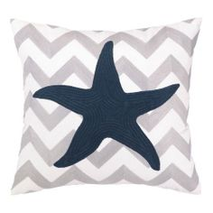 Starfish Pillow. The embroidered chevron design creates a fashionable pattern for our Star Fish to adorn.