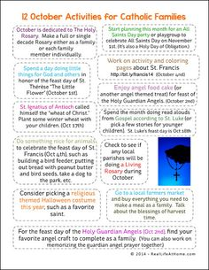 12 Activities for Catholic Families in October Printable