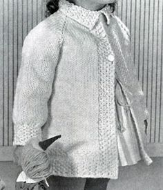 Raglan Sleeve Coat knitting pattern from Lacey's Speed Knits for Tiny Tots, originally published by T.M. Lacey, Volume 31.