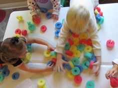 Pool Noodles, can be used for lacing, making chains, building, etc. Great for eye-hand coordination and well as teaching colors and counting.