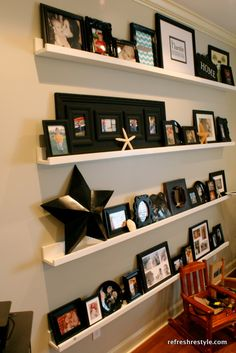 Ana Whites Ledges for gallery wall.  She makes it look so easy.  I might have to try this in Charlie's room!