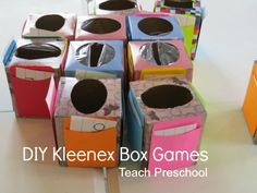 DIY Kleenex Box Games by Teach Preschool  This post is about using the boxes for math, but I can see using them for letters, shapes, so many things!  Oh how I love reusing things and we go through a billion boxes each year!