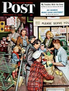 Grocery Line from November 13,1948 by Steven Dohanos