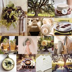 color palettes, benches, bouquets, trees, wedding inspiration boards, cherries, centerpieces, elegant wedding, honey