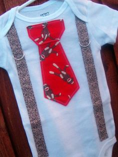 Red and Brown Sock Monkey Boy Tie Onesie or by shopantsypants, $18.00