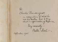 "Note from Walter Pach to Charles Prendergast found inside ""Paul Cézanne"" by Gerstle Mack., New York: Albert A. Knopf,  1935 from the Prendergast Personal Library. Walter Pach (1883-1958) was an artist, critic, and lecturer who wrote about and championed the cause of modern art. He was also a close personal friend of Maurice and Charles Prendergast."