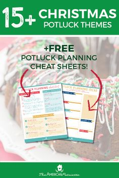 Fun Christmas Potluck Theme Ideas with free planning cheat sheets - get great inspiration for planning and hosting a fun holiday potluck meal or casual dinner party! #dinnerparty #potluckthemes #potlucks #potluckideas #easyentertaining #christmasparties #holidayparties