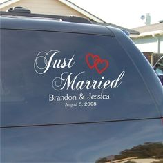 Just Married Car Decal - Vinyl Decal. $19.00, via Etsy.