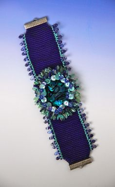 Loomed Base and beaded cab flower Design by Jean A. Upton