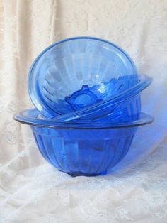 Cobalt Blue Hazel Atlas Depression Glass  Set of 3 Nesting Bowls