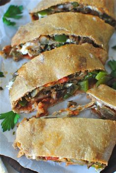 Whole Wheat Stromboli with Peppers and Chicken Sausages / Bev Cooks