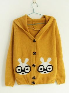 Glasses Rabbit Pattern Sweaters Yellow$40.00
