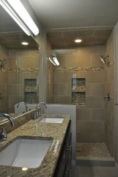 Long and narrow bathroom design pictures remodel decor - Narrow shower room design ...