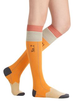 Got My Number Two Socks - Knit, Yellow, Multi, Nifty Nerd, Good, Novelty Print, Scholastic/Collegiate