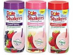 Dole Shakers - These nifty little canisters contain frozen fruit and yogurt all ready to become your favorite smoothy when you add your favorite juice and shake vigorously for a few seconds. I chose the Strawberry Banana Dole Shaker and I added my own Ocean Spray Diet Grape Cranberry Juice. All together the smoothie was 95 calories of deliciousness.
