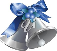 iCLIPART - Royalty Free Clipart Image of Silver Bells With a Blue Bow