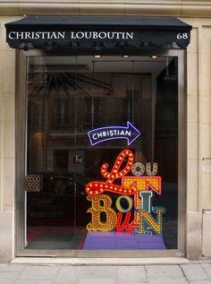 christians, pari, neon, window displays, store fronts, signage design, windows, christian louboutin, retail