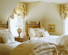 Bamboo beds and fluffy down comforters take me straight to Europe! I love this bedroom, where comfort reigns!