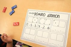 go math, kindergarten fun, domino addit, ricca kindergarten, kindergartenmath, kindergarten math centers, math idea, kid, kindergarten common core