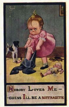 """A particularly poisonous anti-Suffragist card, exploiting the misogynistic idea that women became """"Suffragettes"""" because they were ugly, bitter, man-hating, unloved and unloveable. It's indicative of how very ugy the tone of the women's suffrage debates was, and the kind of calumny to which women activists were subjected."""