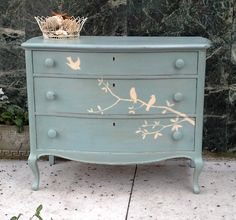 Interior. Most Wanted Shabby Chic Furniture And Decorating Ideas: Eye Catching Blue Shabby Chic Dresser With Pink Twig And Lilltle Birds Pai...
