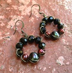 Pewter Pearl and Black Glass Wire Wrapped by ChristensenStudio, $30.00