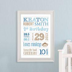 Baby Subway Art - Nursery Art - Birth Announcement Print - Personalized Baby Shower Gift - Keepsake - Custom @Lindsay Morgan
