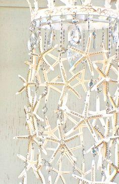 Starfish  and Rhinestone Chandelier by debisdesigndiary on Etsy, $325.00