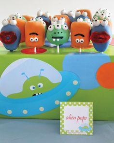 craft kids, cake pops for kids birthday, alien party, alien invas, kid birthdays, parti idea, kid birthday parties, monster cakes, birthday cakes