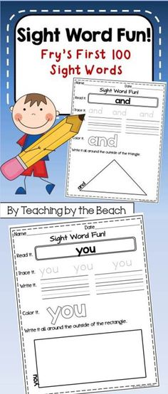 This is a PDF file with all of Fry's First 100 Sight Words in fun practice sheets for your students. In our district our kindergarteners are required to learn all 100...and this makes for some excellent practice. The sheets are simple and kid friendly. You can use these as morning work or you can make a literacy center with them. If you open the preview you will get 4 sheets to sample with your students (freebie). Hope you and your students like them. -Teaching by the Beach