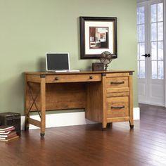 Sauder Registry Row Desk, Amber Pine