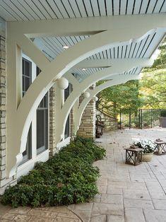 Architectural Brackets house design, minneapoli, deck design, lake, deck patio, stamped concrete, concrete design, porch, stone houses