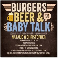 Baby Shower Invitations - Burgers Beer n' Baby: Ocean by Tiny Prints
