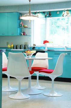Aqua and red midcentury kitchen.