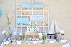 Beach themed party beachparti, beaches, beach parti, beach party, dessert tabl, summer parti, parti idea, beach themes, themed parties