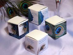 PEACOCK wedding favor boxes centerpiece bridal shower themed party feather gift baby shower