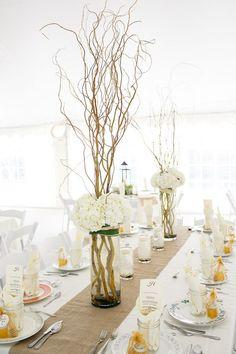 manzanita branch centerpieces // photo by Kina Wicks // http://ruffledblog.com/romantic-illinois-farm-wedding
