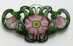 Art Nouveau Enameled Primrose Sterling Brooch