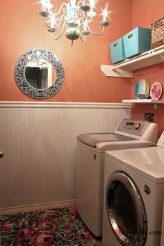 Great Laundry re-do. Love the coral/orange and the layout. Perfect for small/galley-styled space.