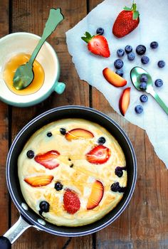 Honey Cloud Pancakes: egg whites and honey whipped up and baked with fruit..sounds so refreshing for the summer or for a nice brunch! :-)