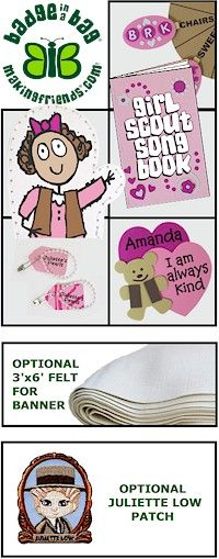 "Brownie Ways Badge in a Bag® Twelve girls can complete five requirements for the new Brownie ""Girl Scout Way"" badge. For more details go to MakingFriends.com"