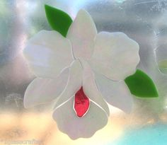 Orchid flower. Precut stained glass art kit for mosaic inlay or suncatcher.