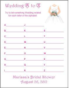 24 Personalized WEDDING AZ Bridal Shower Game by shower idea, bridal shower games, bridal showers
